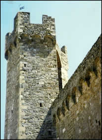 Tower and walls of La Fortezza in Montalcino