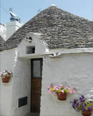 Trulli house in Alberobello with flowerpots