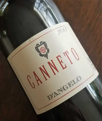 "2013 ""Canneto"" Aglianico del Vulture from the D'Angelo winery in Basilicata."