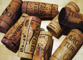Assorted corks from tasting of Sardinia wines