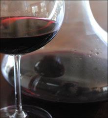 red wine glass with decanter